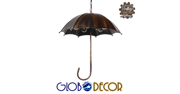 Vintage Industrial Κρεμαστό Φωτιστικό Οροφής Πολύφωτο Μαύρο Καφέ Σκουριά Μεταλλικό Φ58  UMBRELLA BLACK 01406