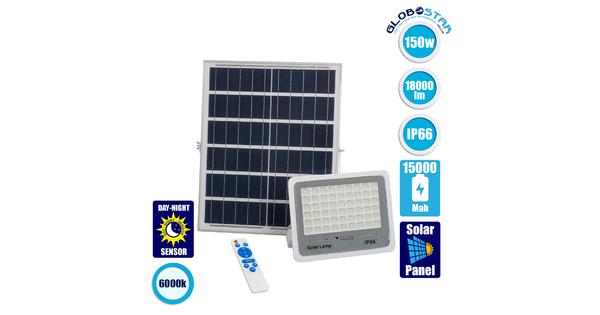 71560 Αυτόνομος Ηλιακός Προβολέας LED SMD 150W 18000lm με Ενσωματωμένη Μπαταρία 15000mAh - Φωτοβολταϊκό Πάνελ με Αισθητήρα Ημέρας-Νύχτας και Ασύρματο Χειριστήριο RF 2.4Ghz Αδιάβροχος IP66 Ψυχρό Λευκό 6000K