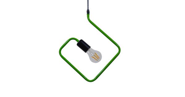Μοντέρνο Κρεμαστό Φωτιστικό Οροφής Μονόφωτο Πράσινο Μεταλλικό  KIDDY RHOMBUS 01096