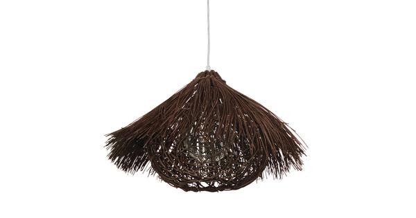 Vintage Κρεμαστό Φωτιστικό Οροφής Μονόφωτο Καφέ Σκούρο Ξύλινο Ψάθινο Rattan Φ50  MAGIE 01600