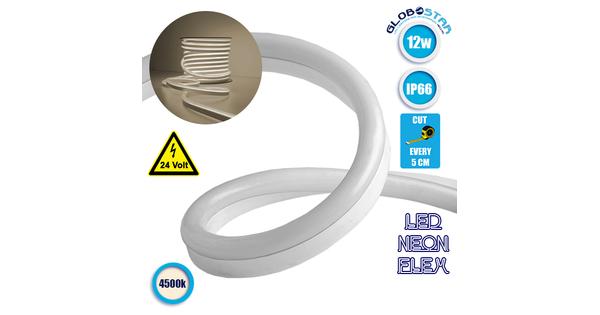 NEON FLEX LED Λευκή 1m 12W/m 24V 120 SMD/m 2835 SMD 930lm/m 120° Αδιάβροχη IP66 Φυσικό Λευκό 4500k Dimmable GloboStar 22619