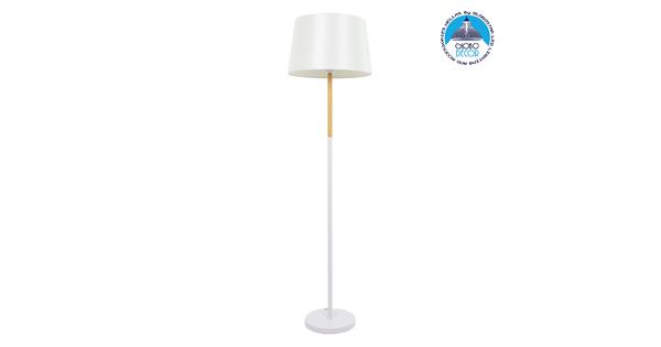 ASHLEY 00828 Μοντέρνο Φωτιστικό Δαπέδου Μονόφωτο Μεταλλικό Λευκό με Καπέλο και Ξύλινη Λεπτομέρεια Φ40 x Υ148cm