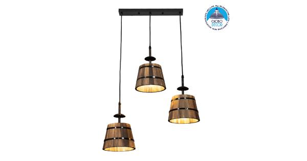 CEBU 00889 ΣΕΤ Vintage Κρεμαστό Φωτιστικό Οροφής Τρίφωτο Μεταλλικό Ξύλινο Μ55.5 x Π18.5 x Y210cm