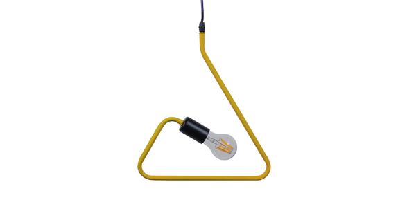 Μοντέρνο Κρεμαστό Φωτιστικό Οροφής Μονόφωτο Κίτρινο Μεταλλικό  KIDDY TRIANGLE 01097