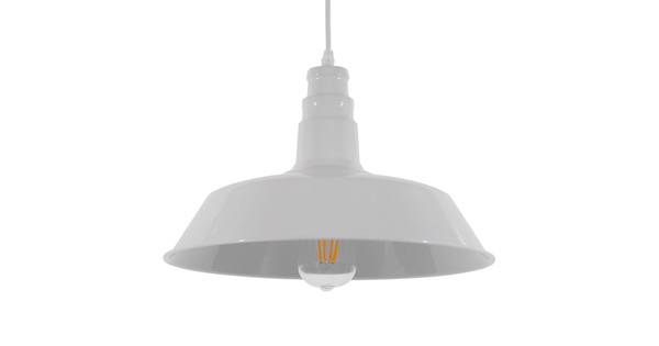 Vintage Industrial Κρεμαστό Φωτιστικό Οροφής Μονόφωτο Λευκό Μεταλλικό Καμπάνα Φ36 GloboStar RAY WHITE 01043
