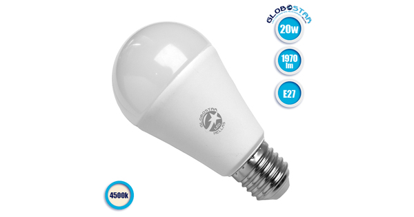 Γλόμπος LED A60 με βάση E27 20 Watt 230v Φυσικό Λευκό GloboStar 01698