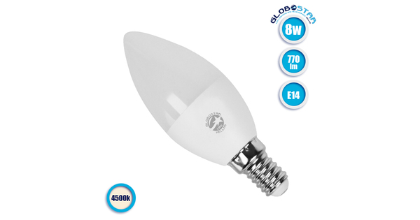 Κεράκι LED C37 με βάση E14 8 Watt 230v Ημέρας GloboStar 01719