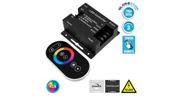 73406 Ασύρματος LED RGB Controller με Χειριστήριο Αφής 2.4G RF 12v (216w) - 24v (432w) DC