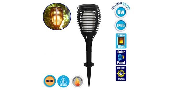 Ηλιακό Φωτιστικό LED με Εφέ Φλόγας 4σε1 Διακοσμητικό Αυτόνομο Αδιάβροχο IP65 1800k  50012
