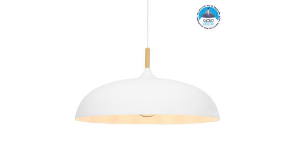 GloboStar® ZOE 00837 Μοντέρνο Κρεμαστό Φωτιστικό Οροφής Μονόφωτο Λευκό Μεταλλικό Καμπάνα Φ60 x Υ35cm