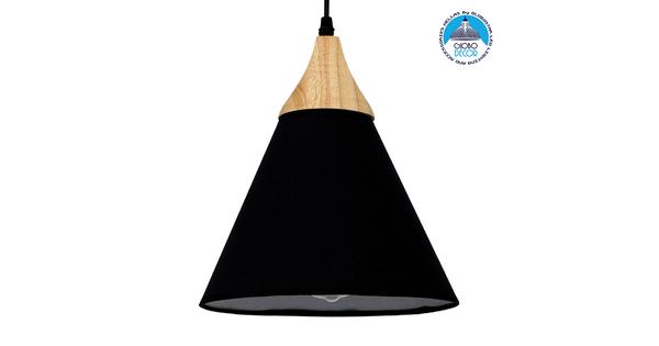 Μοντέρνο Κρεμαστό Φωτιστικό Οροφής Μονόφωτο Μαύρο Υφασμάτινο με Ξύλο Καμπάνα Φ25cm  SHADE BLACK 01576