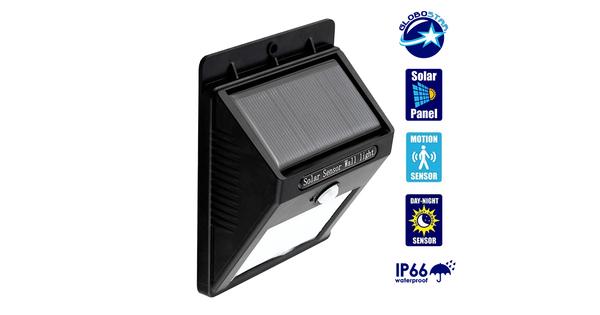 Αυτόνομο Αδιάβροχο IP66 Ηλιακό Φωτοβολταϊκό Φωτιστικό LED 2W 180lm Αδιάβροχο IP66 με Ανιχνευτή Κίνησης Ψυχρό Λευκό 6000k GloboStar 07002