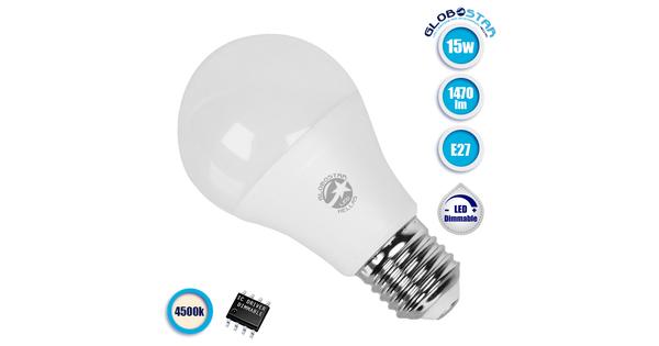 Γλόμπος LED A60 με βάση E27 15 Watt 230v Ημέρας Dimmable  GloboStar 01740