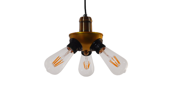 Vintage Ιndustrial Κρεμαστό Φωτιστικό Οροφής Τρίφωτο Χρυσό Μεταλλικό Φ12 GloboStar COPPER 01076