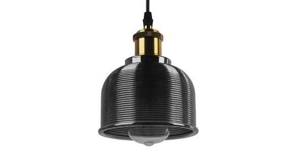 Vintage Κρεμαστό Φωτιστικό Οροφής Μονόφωτο Μαύρο Γυάλινο Διάφανο Καμπάνα με Χρυσό Ντουί Φ14 GloboStar SEGRETO BLACK 01449