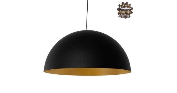 Μοντέρνο Κρεμαστό Φωτιστικό Οροφής Μονόφωτο Μαύρο Χρυσό Μεταλλικό Καμπάνα Φ60  DIADEMA 01342