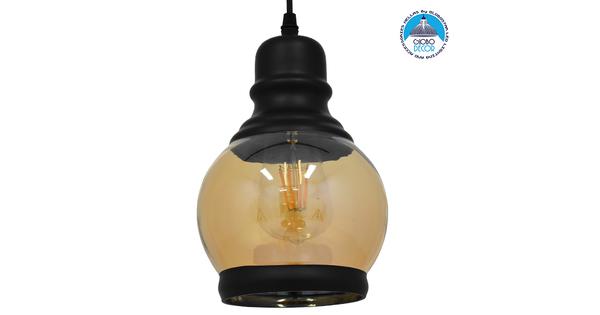 Vintage Κρεμαστό Φωτιστικό Οροφής Μονόφωτο Μαύρο Γυάλινο Μελί Διάφανο Φ16 GloboStar OLIVER 01505