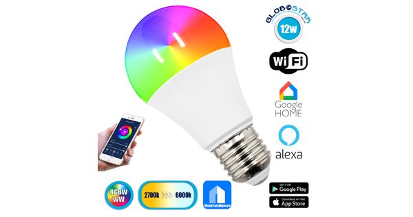76070 Λάμπα E27 A60 Γλόμπος Smart Home WiFi LED RGB+CCT 12W 960 lm 260° AC 85-265V Πολύχρωμη RGBW+WW Ψυχρό Λευκό 6000K + Φυσικό Λευκό 4500K + Θερμό Λευκό 3000K Dimmable