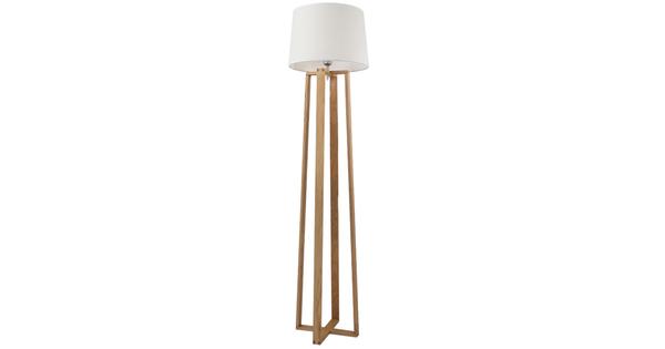 Μοντέρνο Φωτιστικό Δαπέδου Μονόφωτο Ξύλινο με Λευκό Καπέλο Φ40  TOWER 01264