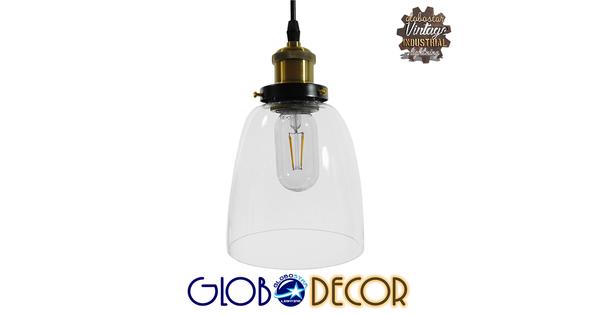 Vintage Κρεμαστό Φωτιστικό Οροφής Μονόφωτο Γυάλινο Καμπάνα Φ14  WICKHAM 01168