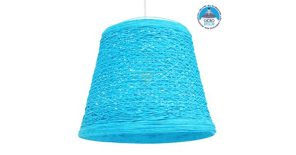 Vintage Κρεμαστό Φωτιστικό Οροφής Μονόφωτο Θαλασσί Ξύλινο Ψάθινο Rattan Φ32  ARGENT SEA BLUE 00995