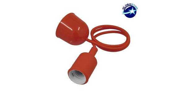 Κόκκινο Κρεμαστό Φωτιστικό Οροφής Σιλικόνης με Υφασμάτινο Καλώδιο 1 Μέτρο E27  RED 91002