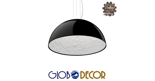 Μοντέρνο Κρεμαστό Φωτιστικό Οροφής Μονόφωτο Μαύρο Γύψινο Καμπάνα Φ40  SERENIA BLACK 01151