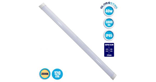 LED Γραμμικό Φωτιστικό Τύπου T8 Πρισματικού Φωτισμού 40 Watt 3800 Lumen 120cm IP65 Θερμό Λευκό 3000k  40012