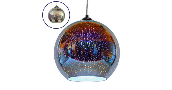 Μοντέρνο Κρεμαστό Φωτιστικό Οροφής Μονόφωτο Γυάλινο Νίκελ 3D Φ25 GloboStar MARS 01347