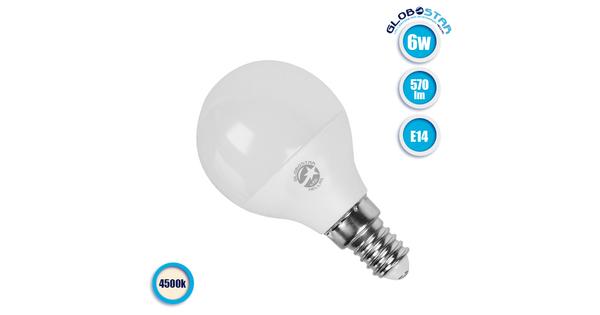 Γλομπάκι LED G45 με βάση E14 6 Watt 230v Ημέρας   01704