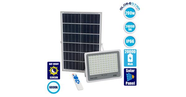 GloboStar® 71561 Αυτόνομος Ηλιακός Προβολέας LED SMD 200W 24000lm με Ενσωματωμένη Μπαταρία 20000mAh - Φωτοβολταϊκό Πάνελ με Αισθητήρα Ημέρας-Νύχτας και Ασύρματο Χειριστήριο RF 2.4Ghz Αδιάβροχος IP66 Ψυχρό Λευκό 6000K