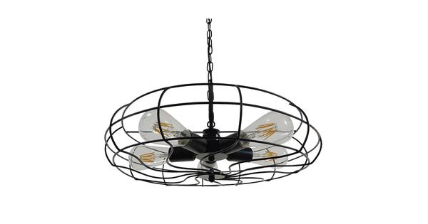 Vintage Industrial Κρεμαστό Φωτιστικό Οροφής Πολύφωτο Μαύρο Μεταλλικό Πλέγμα Φ46  HELIX 01164