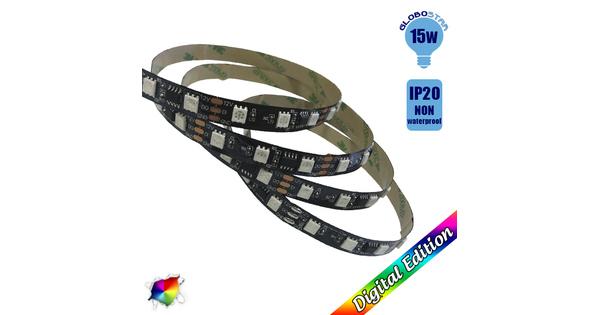 Ταινία LED Μαύρη Digital Strip WS2811 IC3 5m 15W/m 12V 60LED/m 5050 SMD 750lm/m 120° IP20 RGB GloboStar 88767