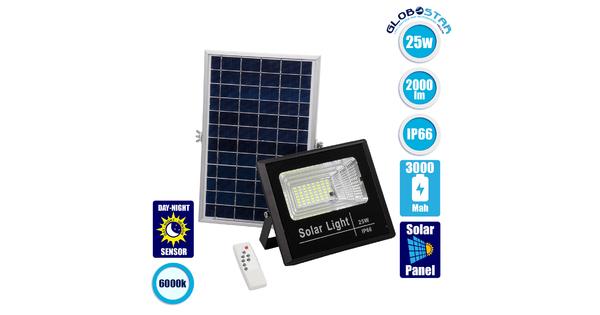 71554 Αυτόνομος Ηλιακός Προβολέας LED SMD 25W 2000lm με Ενσωματωμένη Μπαταρία 3000mAh - Φωτοβολταϊκό Πάνελ με Αισθητήρα Ημέρας-Νύχτας και Ασύρματο Χειριστήριο RF 2.4Ghz Αδιάβροχος IP66 Ψυχρό Λευκό 6000K