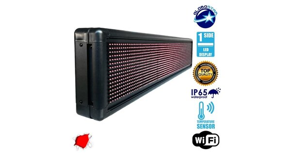 Αδιάβροχη Κυλιόμενη Επιγραφή LED 230V USB & WiFi Κόκκινη Μονής Όψης 100x20cm GloboStar 90100