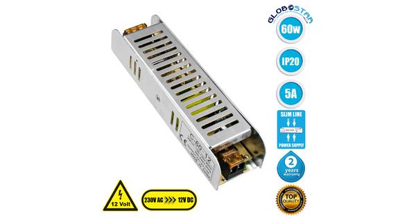 73001 Τροφοδοτικό LED Ultra Slim 60W DC 12V 5A IP20 Μ16 x Π4 x Υ3cm