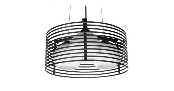 Μοντέρνο Κρεμαστό Φωτιστικό Οροφής Τρίφωτο Μαύρο Μεταλλικό Πλέγμα με Καμπάνα απο Λευκό Γυαλί Φ40  KEVIA 01150