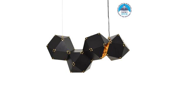 WELLES Replica 00796 Μοντέρνο Κρεμαστό Φωτιστικό Οροφής Πολύφωτο Μεταλλικό Μαύρο Χρυσό Μ68 x Π32 x Υ30cm