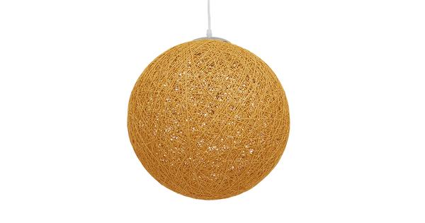 Vintage Κρεμαστό Φωτιστικό Οροφής Μονόφωτο Μπεζ Χρυσό Ξύλινο Ψάθινο Rattan Φ40  WOTAN 01357