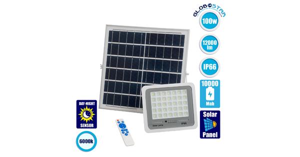 71559 Αυτόνομος Ηλιακός Προβολέας LED SMD 100W 12000lm με Ενσωματωμένη Μπαταρία 10000mAh - Φωτοβολταϊκό Πάνελ με Αισθητήρα Ημέρας-Νύχτας και Ασύρματο Χειριστήριο RF 2.4Ghz Αδιάβροχος IP66 Ψυχρό Λευκό 6000K