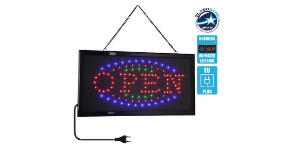 75681 Φωτιστικό Ταμπέλα LED Σήμανσης OPEN με Πρίζα AC 230V Μ48xΠ25xΥ2cm