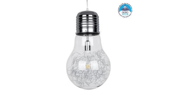 LAMP 01677 Μοντέρνο Κρεμαστό Φωτιστικό Οροφής Μονόφωτο Ασημί Νίκελ Μεταλλικό Διάφανο Γυαλί Φ30 x Υ52cm