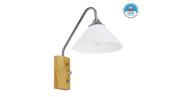 Μοντέρνο Φωτιστικό Τοίχου Απλίκα Μονόφωτο Ασημί Νίκελ Λευκό με Ξύλινη Βάση Μεταλλικό Φ18  ALESSIA CHROME 01459