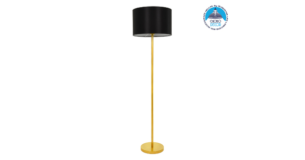 ASHLEY 00825 Μοντέρνο Φωτιστικό Δαπέδου Μονόφωτο Μεταλλικό Χρυσό με Μαύρο Καπέλο Φ40 x Υ148cm