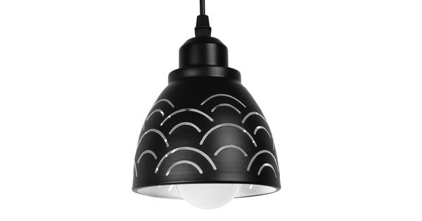 Μοντέρνο Κρεμαστό Φωτιστικό Οροφής Μονόφωτο Μεταλλικό Μαύρο Λευκό Καμπάνα Φ13  CLOUD 01482