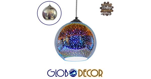 Μοντέρνο Κρεμαστό Φωτιστικό Οροφής Μονόφωτο Γυάλινο Νίκελ 3D Φ20  VENUS 01346
