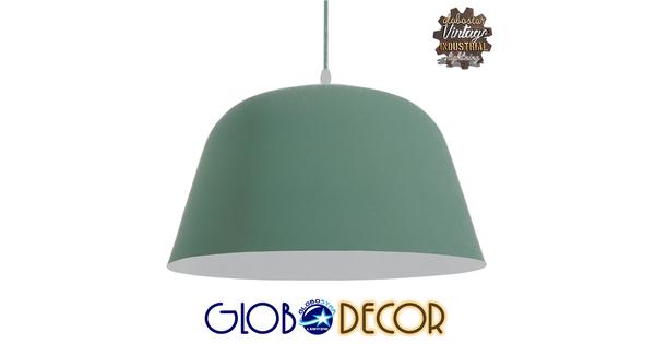 Μοντέρνο Κρεμαστό Φωτιστικό Οροφής Μονόφωτο Γκρι Πράσινο Μεταλλικό Καμπάνα Φ40  UPVALE 01285