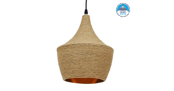Vintage Κρεμαστό Φωτιστικό Οροφής Μονόφωτο με Μπεζ Σχοινί Καμπάνα  BEIJING Φ24 00916