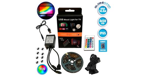 Πλήρες Κιτ Κρυφού Φωτισμού RGB με USB για Τηλεοράσεις και Τηλεχειριστήριο  06006