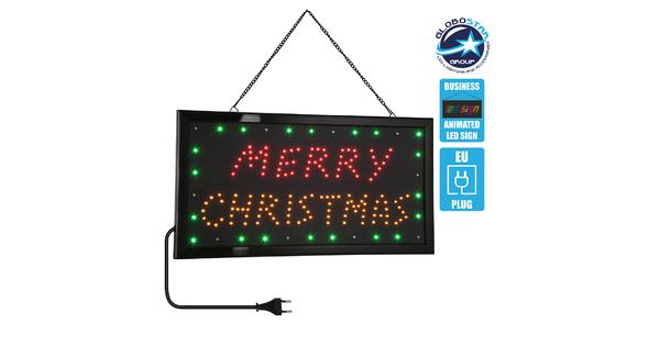 75695 Φωτιστικό Ταμπέλα LED Σήμανσης MERRY CHRISTMAS με Πρίζα AC 230V Μ48xΠ25xΥ2cm